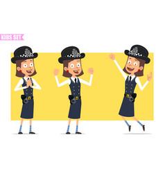 cartoon funny british policeman girl character set vector image