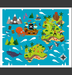 Cartoon pirate map treasure travel adventure vector