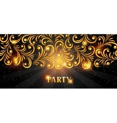 Celebration party banner with golden ornament vector