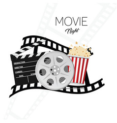 Cinema and movie night background three vector