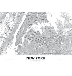 City map new york usa travel poster detailed vector