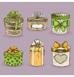 collection gift present boxes with bows vector image