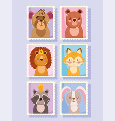 cute animals cartoon postage mail stamps lion fox vector image