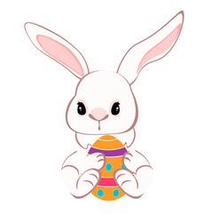 Cute bunny sitting with colorful eggs vector