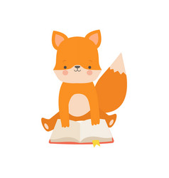 cute fox reading book adorable smart animal vector image