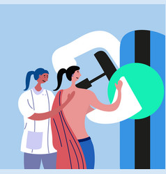 Doctor conducts mammography to patient vector