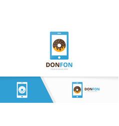 Donut and phone logo combination doughnut vector