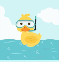 duck snorkeling in sea vector image