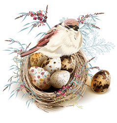 easter background with realistic bird nest eggs vector image