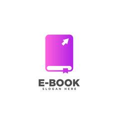 Ebook logo online education logo design template vector