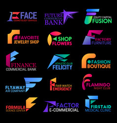 F icons corporate identity abstract shape style vector