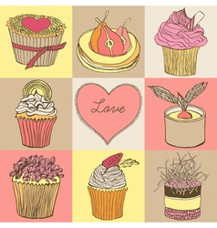 Fancy cupcakes background vector