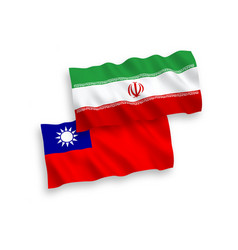 Flags iran and taiwan on a white background vector