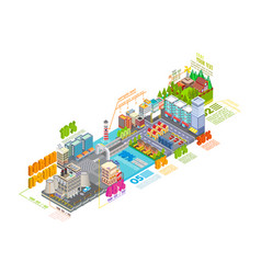 flat 3d isometric industrial and business city vector image