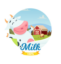Fresh farm milk banner with cartoon vector