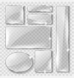 glass banner or plate realistic set vector image