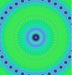 Green blue mandala fractal design background vector image