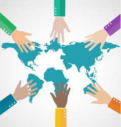group business people assembling world map vector image