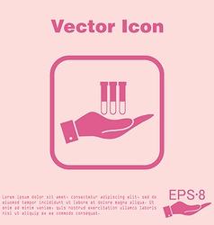 Hand holding a bulb or beaker vector