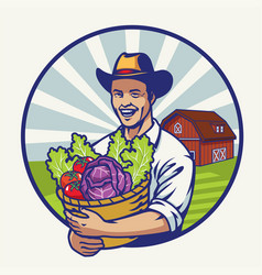 Happy farmer with a basket bull of vegetables vector