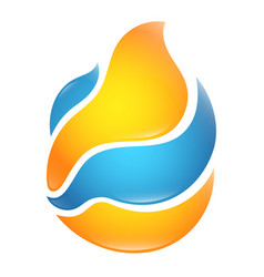 Heating flame and cooling wave design vector