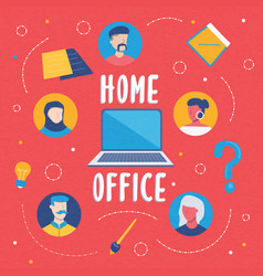 home office concept people team in laptop vector image