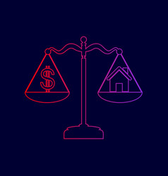 House and dollar symbol on scales line vector