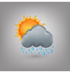 Icon weather cloud sun rain vector