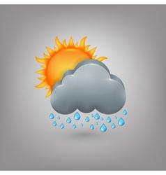 Icon weather Cloud sun rain vector