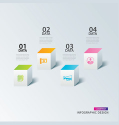 infographics box square paper with 4 data vector image