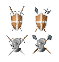 Knights coat arms warrior weapons vector