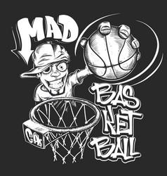 Mad basketball slam t-shirt print design vector
