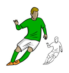 male soccer player with green jersey playing game vector image