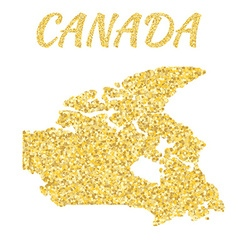Map of Canada in golden With gold yellow particles vector