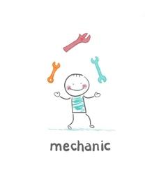 mechanic juggling keys vector image