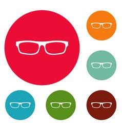 medical eyeglasses icons circle set vector image