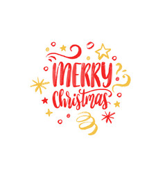 merry christmas lettering hand drawn new vector image