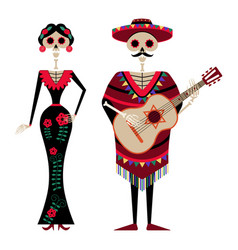 mexican day dead decorated skeleton couple vector image