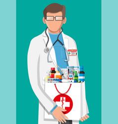 Modern male pharmacist with pharmacy bag vector
