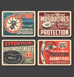 mosquito and flies protection snakes and spider vector image