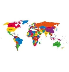 Multi-colored political map of World with vector