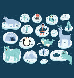 north pole characters set arctic animals cute vector image