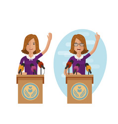 orator speaks from rostrum publicly speech vector image
