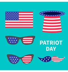 Patriot day set Hat Glasses moustaches Flat vector image
