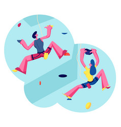 people climbing wall man and girl playing in vector image