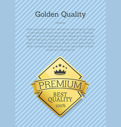 premium big quality golden label poster gold stamp vector image
