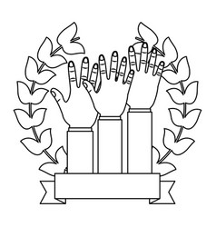 raised hands together cooperation emblem vector image