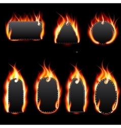 Realistic Fire Label Set on Dark Background vector image