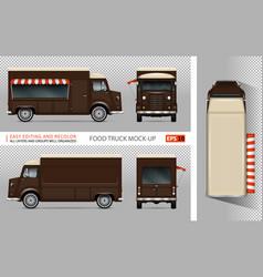 retro food truck mockup vector image