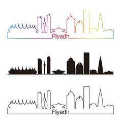 Riyadh skyline linear style with rainbow vector image